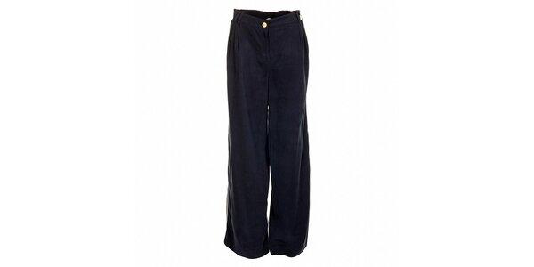 Široké dámske tmavo modré nohavice