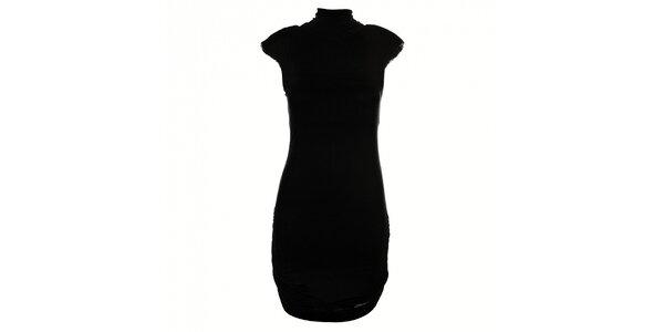 Čierne šaty Miss Sixty s vypchávkami na ramenách