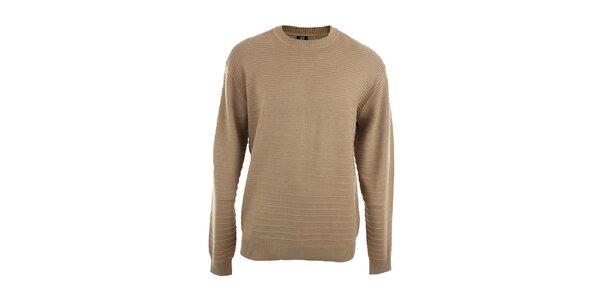 Pánsky svetlo hnedý sveter s prúžkami Pietro Filipi