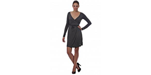 Dámske tmavo šedé bodkované šaty Miss Sixty