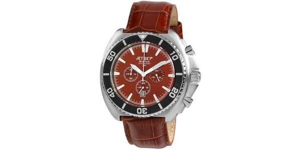 Hnedé hodinky s koženým remienkom Jet Set