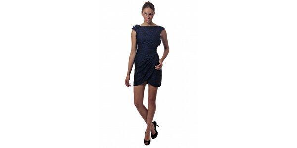 Dámske tmavo modré mini šaty Miss Sixty so zvieracou potlačou