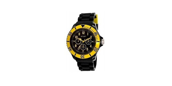 Čierne plastové hodinky s žlto lemovaným ciferníkom Jet Set