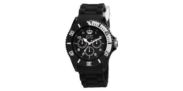 Čierne plastové hodinky s guľatým ciferníkom Jet Set