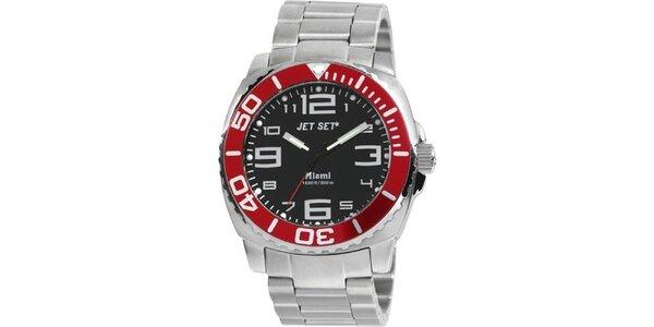 Pánske strieborno-červené analógové hodinky Jet Set