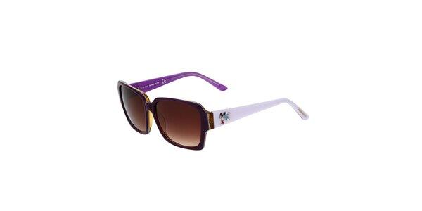 Dámske fialovo-biele hranaté plastové slnečné okuliare Miss Sixty