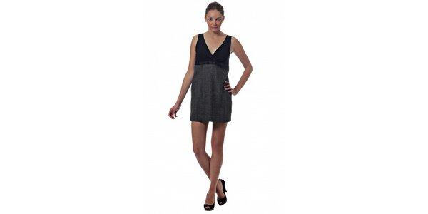 Dámske šedo-čierne šaty Miss Sixty s potlačou