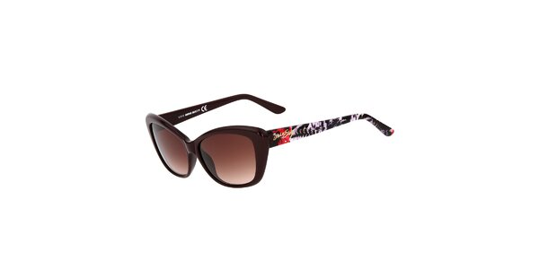 Dámske hnedé mačacie slnečné okuliare Miss Sixty s farebnými stranicami
