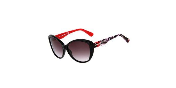 Dámske čierne mačacie slnečné okuliare s farebnými stranicami Miss Sixty
