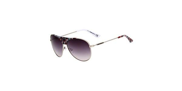 Dámske aviator slnečné okuliare s kvetinovými detailmi Miss Sixty
