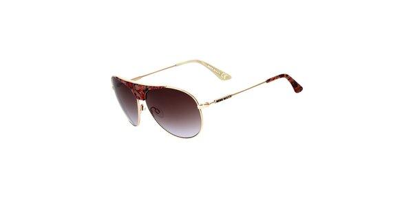 Dámske zlaté aviator slnečné okuliare s kvetinovými detailmi Miss Sixty