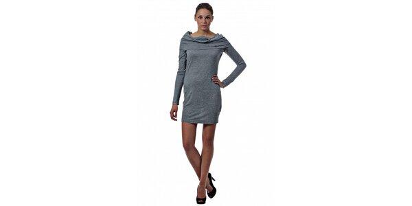 Dámske svetlo šedé úpletové šaty Miss Sixty s límcom