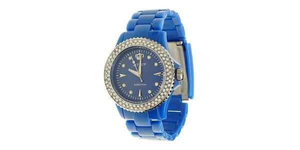 Dámske modré hodinky Jet Set s kamienkami
