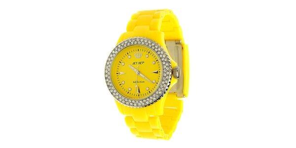 Dámske citrónovo žlté hodinky Jet Set s kamienkami
