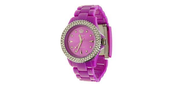 Dámske fialové hodinky Jet Set s kamienkami