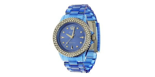Dámske modré hodinky Jet Set s kamienkami a transparentným remienkom