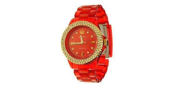 Dámske červené hodinky Jet Set so zlatými detailmi a kamienkami