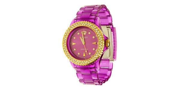 Dámske fialové hodinky Jet Set so zlatými detailmi a kamienkami