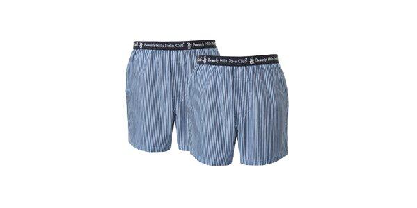 Set dvoch pánskych modro pruhovaných boxeriek Beverly Hills Polo Club