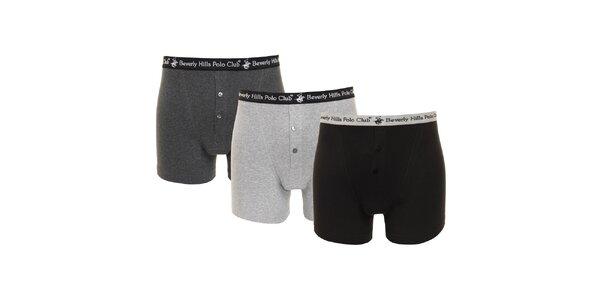 Set čiernych, tmavo šedých a svetlo šedých pánskych boxeriek Beverly Hills Polo…