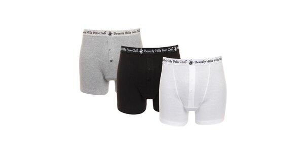 Set čiernych, šedých a bielych pánskych boxeriek Beverly Hills Polo Club