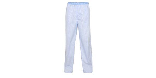 Pánske svetlo modro-biele pyžamové nohavice Beverly Hills Polo Club