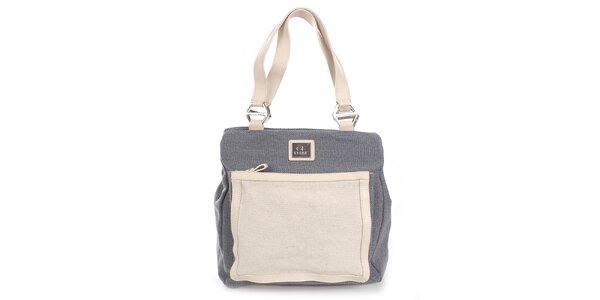 Dámska šedo-béžová kabelka s externým vreckom Gianfranco Ferré