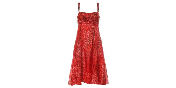 Dámske hodvábne červené šaty Pietro Filipi so zvieracou potlačou