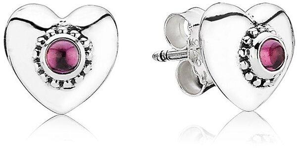 Strieborné náušnice Pandora srdce s rodolitom