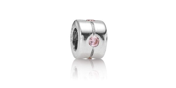 Strieborný prívesok Pandora s jemne ružovým brúseným kamienkom