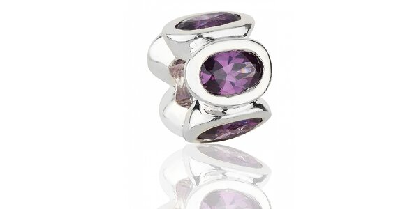 Strieborný prívesok Pandora s purpurovými brúsenými kamienkami