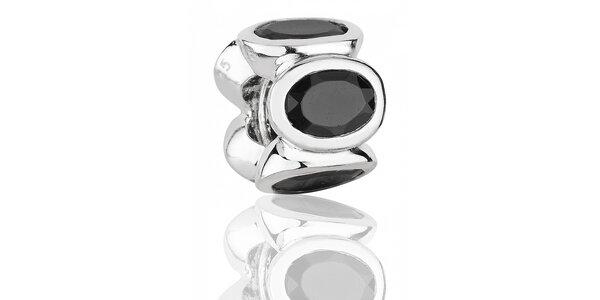 Strieborný prívesok Pandora s čiernymi brúsenými kamienkami