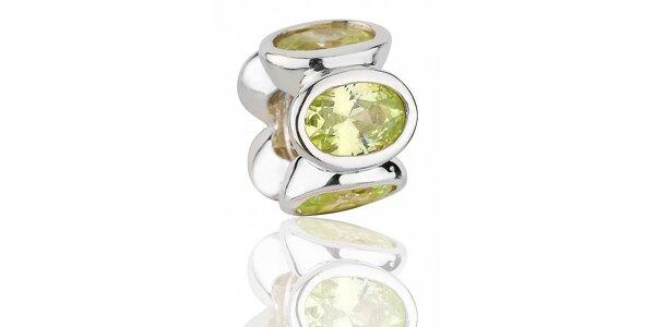 Strieborný prívesok Pandora so zelenými brúsenými kamienkami