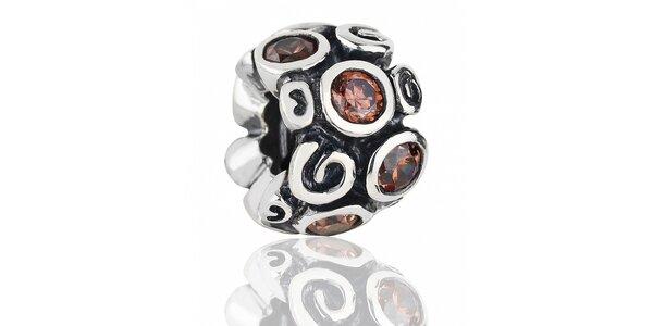 Strieborný prívesok Pandora s motívom prvosienky a hnedými kamienkami