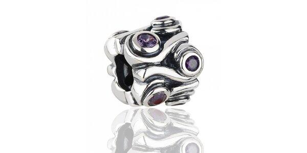 Bohate brúsený strieborný prívesok Pandora s purpurovými kamienkami