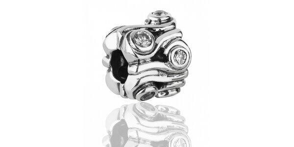 Bohate brúsený strieborný prívesok Pandora s čirými kamienkami
