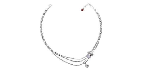 Dámsky strieborný náhrdelník Guess so špendlíkom