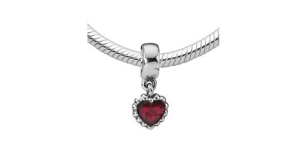 Strieborný prívesok Pandora so srdcom a fuchsiovou glazúrou
