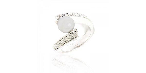 Dámsky strieborný prsteň Bague a Dames s imitáciou perly