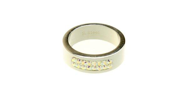 Dámsky oceľový prsteň Swarovski Elements s dúhovými kryštálmi
