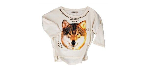 Dámsky krémový sveter s flitrami Fresh Made