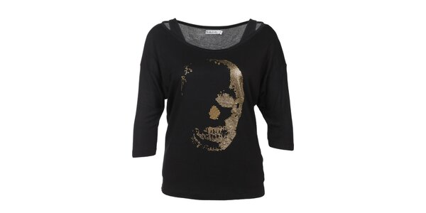 Dámske čierne tričko s potlačou Sublevel