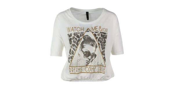 Dámske krátke biele tričko s potlačou Fresh Made