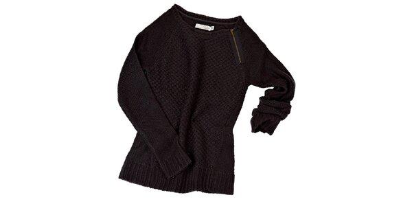 Dámsky tmavo šedý sveter so zipsom Stitch&Soul