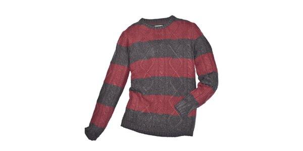 Pánsky červenošedo pruhovaný sveter 98-86
