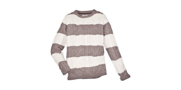 Pánsky béžovo pruhovaný sveter 98-86
