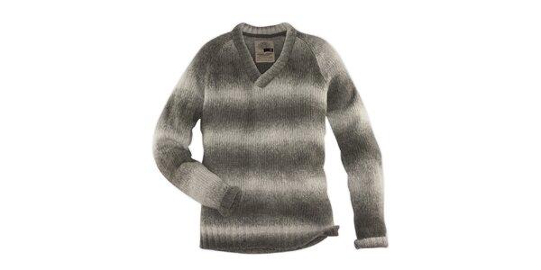 Pánsky šedo melírovaný pruhovaný sveter 98-86