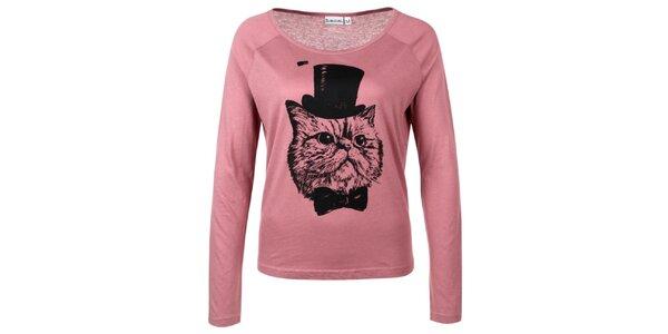 Dámske ružové tričko s kocúrom Sublevel