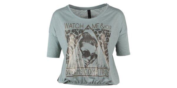 Dámske krátke šedozelené tričko s potlačou Fresh Made