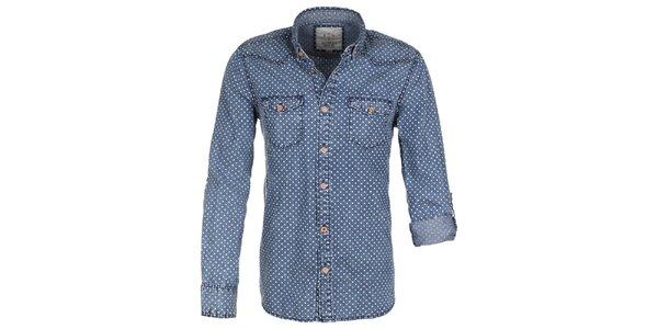 Pánska džínsová bodkovaná košeľa Eight2Nine